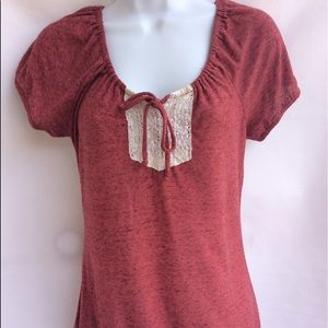 Maurices Women's Maeve Wine Peasant Top with Lace